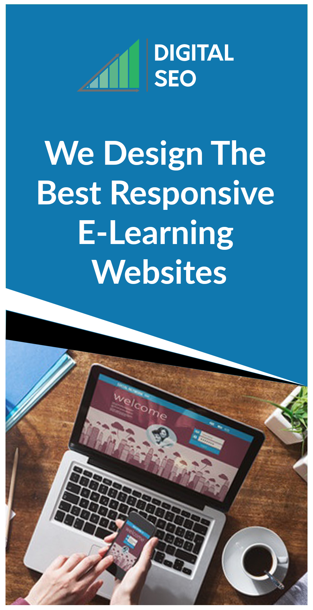 Responsive Web Designing In Chennai For An E-Learning site which is shown on a laptop and mobile devices.