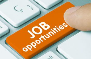 A Human Hand Pressing The Button Of Job Opportunities.