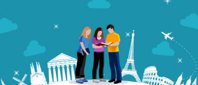 An Animated Image of Three Graduates Discussing About Their Studies In Europe.