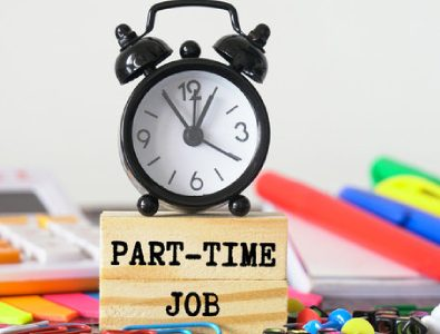 A Paper Note Written A Text Part Time Job And A Clock Placed Over It.
