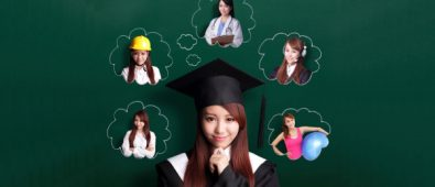 A Graduate Young Girl Thinking About Her Various Career Opportunities.