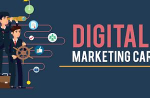 Digital Marketing Career In Marketing Concept Written In Blue Background.