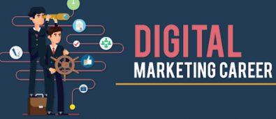 Digital Marketing Career In Marketing Concept Written In Blue Background.