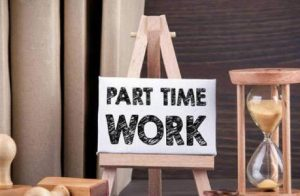 Part Time Job Written On A Small Wooden Cardboard.