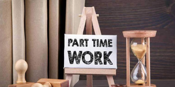 Part Time Job Written On A Small Wooden Cardboard.