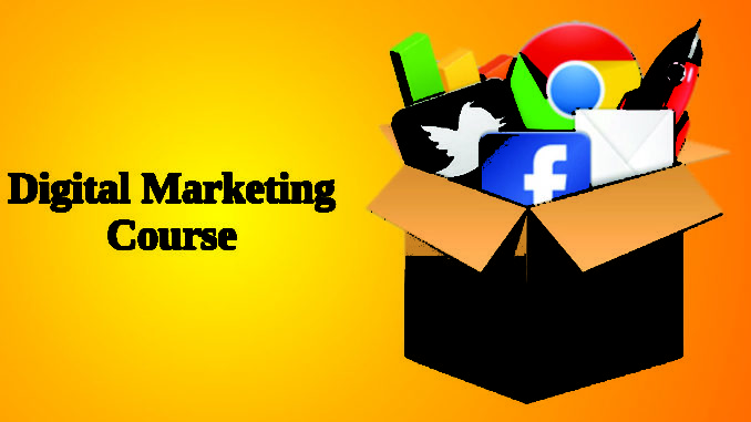 Digital Marketing Course text Isolated In Yellow background.