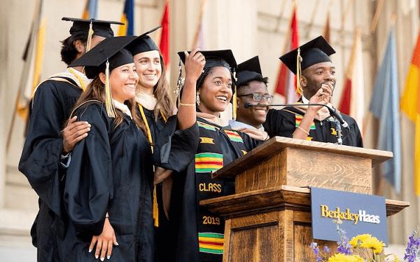Group of Graduates Standing Over The Podium - Graduation Speech.
